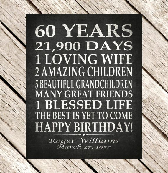60th BIRTHDAY Party Personalized Gift 60 Years Birthday Print
