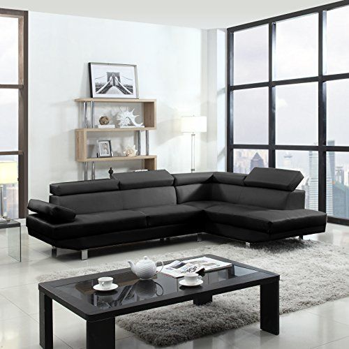 2 Piece Modern Contemporary Faux Leather Sectional Sofa   Black, White With  Functional Armrest And