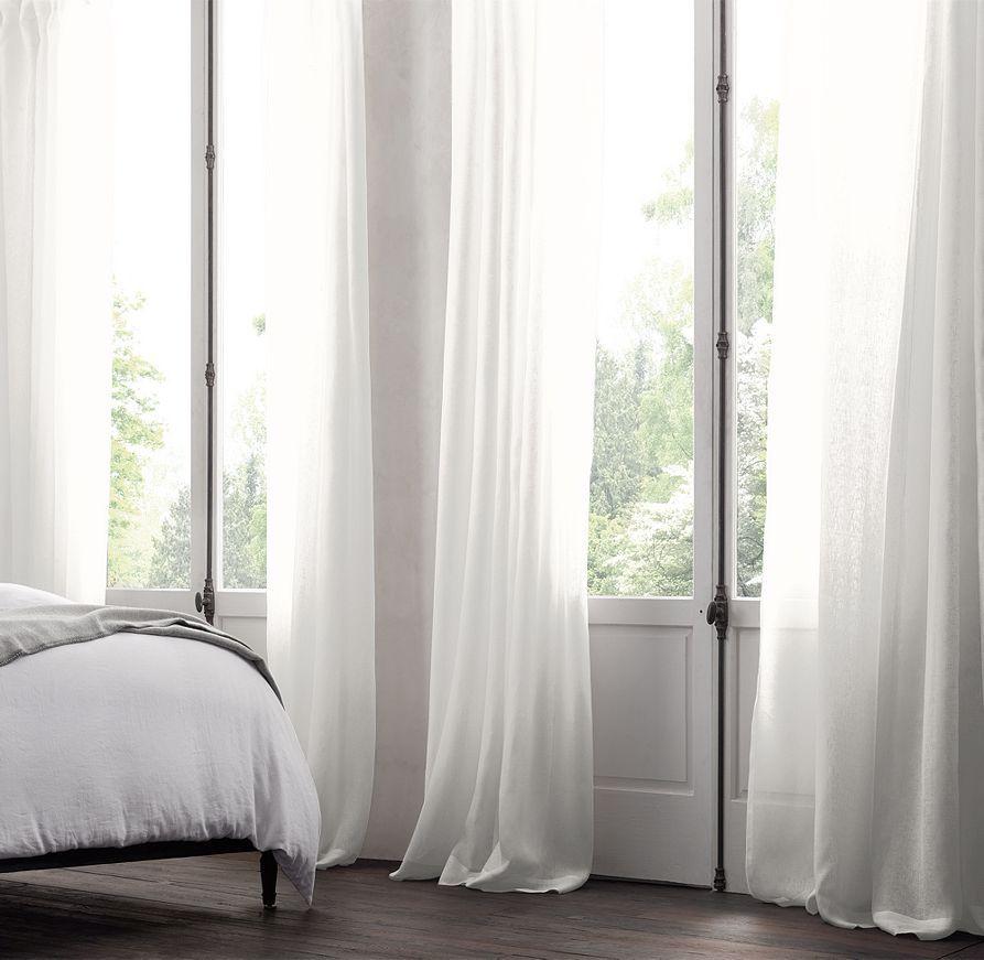 Belgian Sheer Linen Drapery White Linen Curtains Linen Drapery