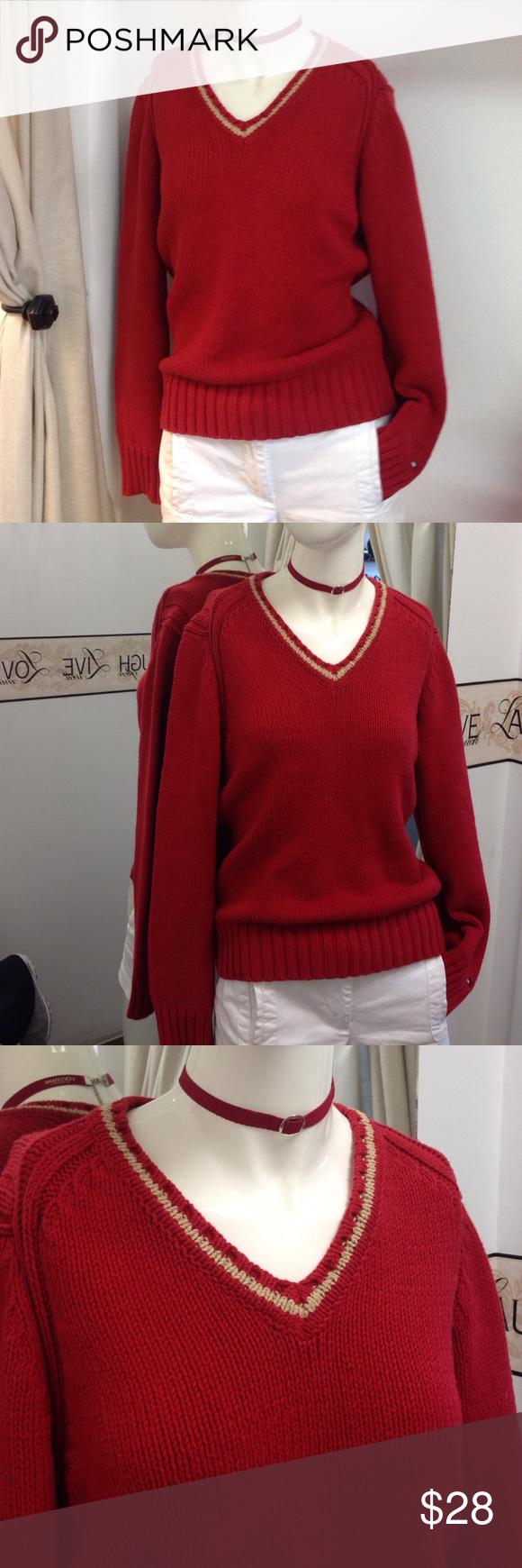 Tommy Hilfiger V-neck women's sweater Cotton laced red v-neck sweater, size M Tommy Hilfiger Sweaters V-Necks