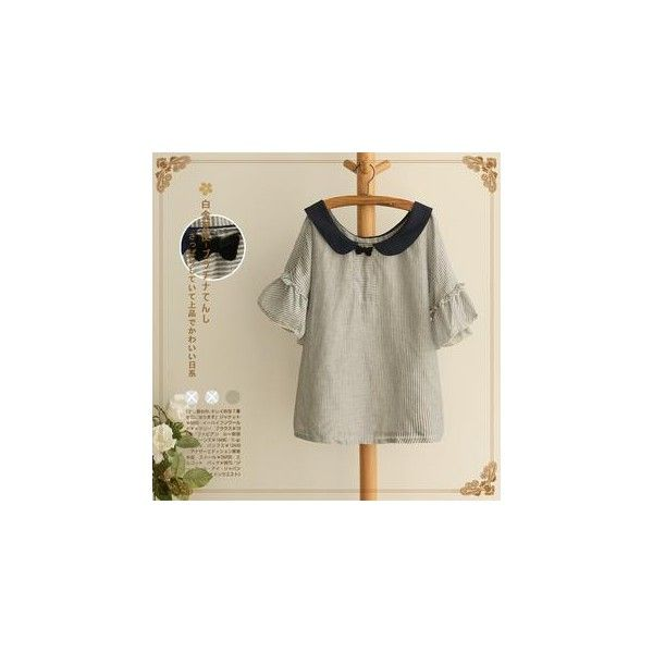 9cf006dc44 Peter Pan Collar Striped Blouse ( 17) ❤ liked on Polyvore ...