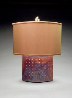 Amazing Raku lamps by Mary Obodzinski. Handmade silk shades. Several styles available at the shop.