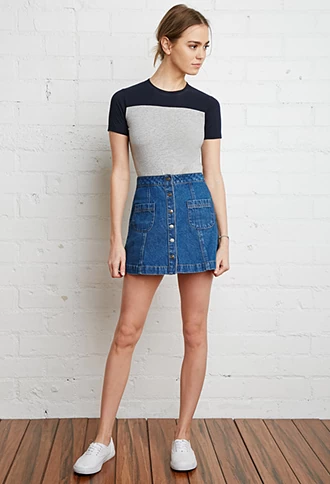 ea775e0a Button-Front Denim Skirt | Forever 21 | #thelatest | forever 21| the ...