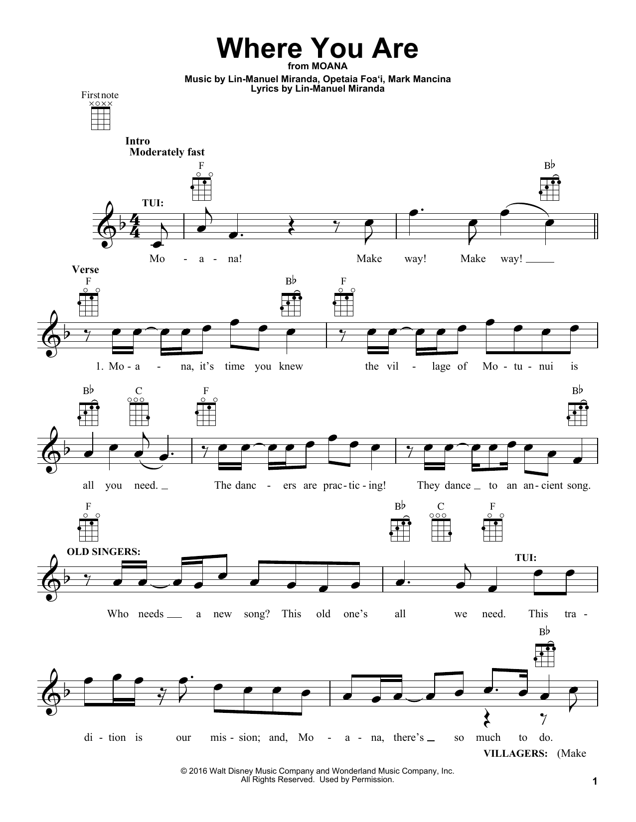 Moana sheet music where you are by lin manuel miranda ukulele moana sheet music where you are by lin manuel miranda ukulele guitar hexwebz Image collections