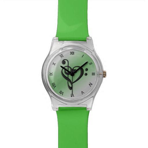 Music Clef Heart Green Wristwatch  15% off #zazzle www.leatherwooddesign.com  #shop