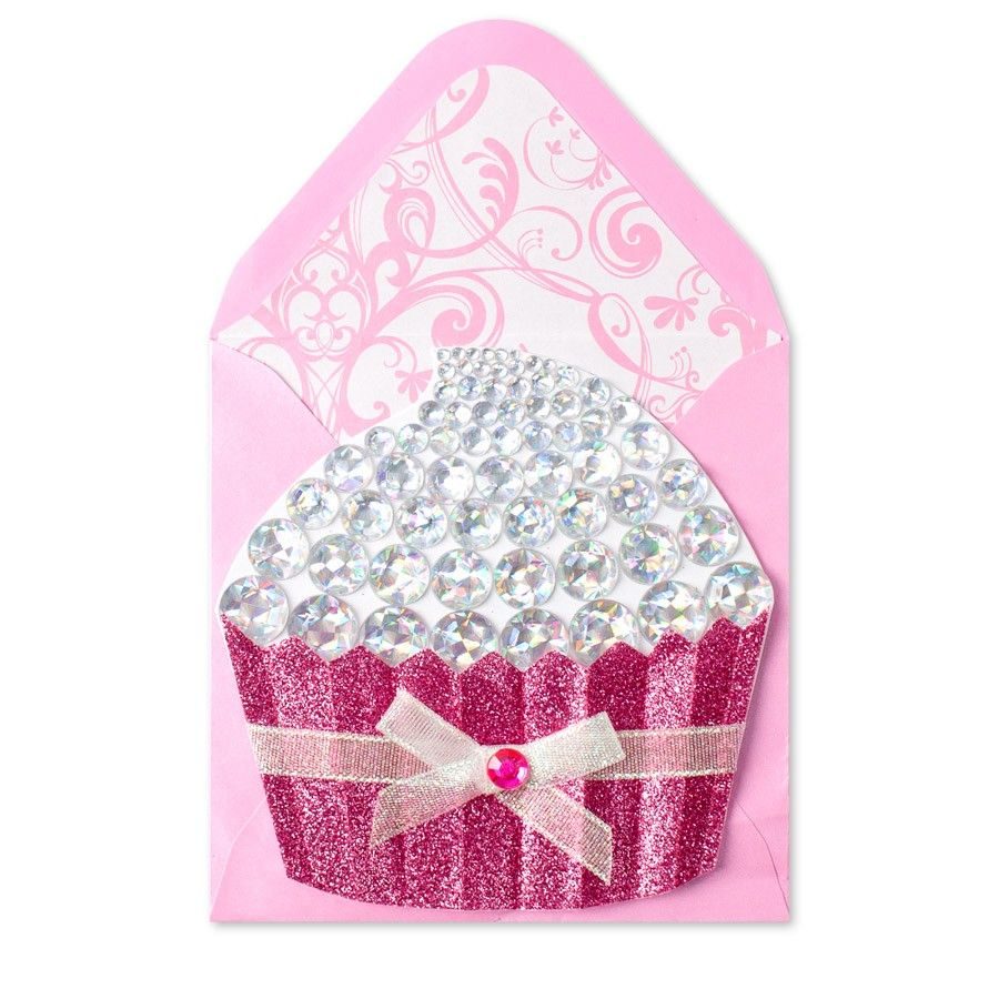 Die Cut Gem Cupcake Thank You Card Stationary Store Card