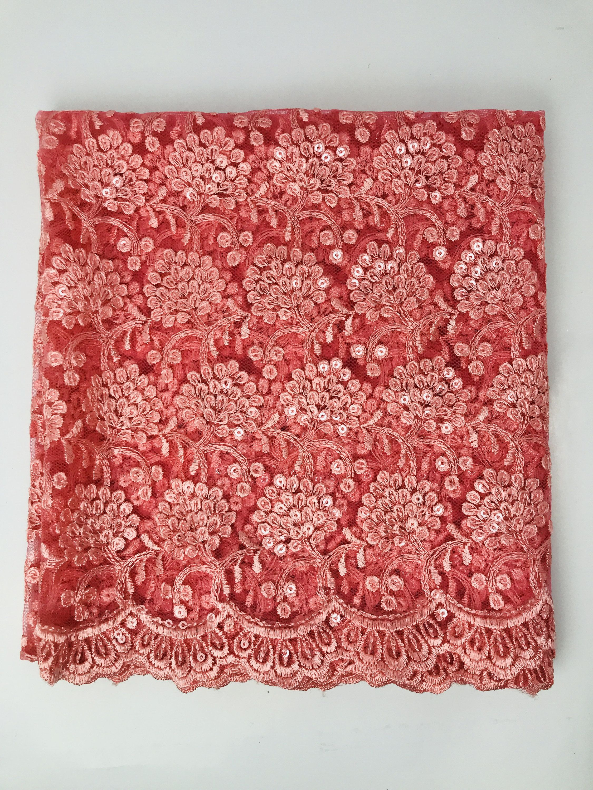 Half Yard Floral Embroidered Net Fabric Indian Lehenga Dupatta Fabric Embroidered Bags Table Runner Art Quilts FabStitchIN