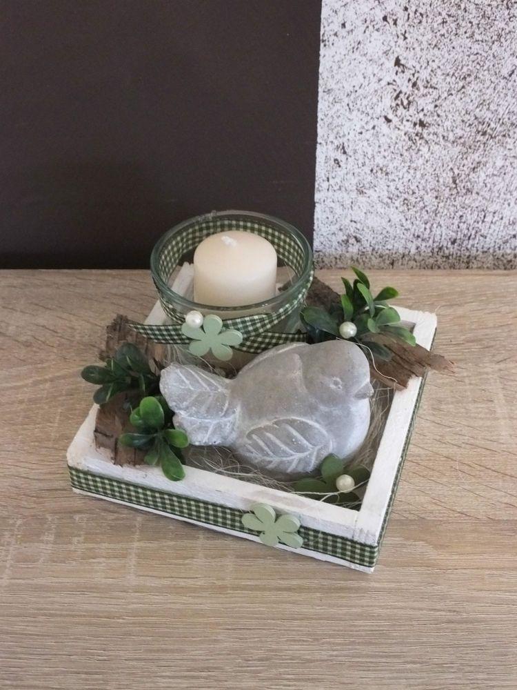 Tischdekoration, Tischgesteck, Gesteck, Windlicht, Sommer, weiß - Deko Gartenparty Grun