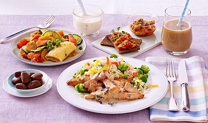 Programm 2 Schlemmerland Tag 6: Cannelloni auf Balsamicogemüs, Hähnchenbruststreifen in Lavendelsoße mit buntem Gemüsereis