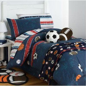 Boys Sports Soccer Basketball Football Baseball Twin Comforter Set 6 Piece Bed In A Bag Full Comforter Sets Bed Twin Comforter Sets Boys twin bedding in a bag
