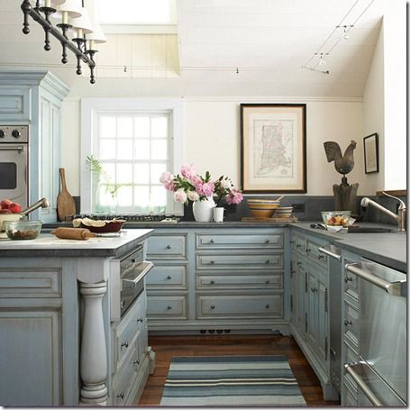 French-Blue-Kitchen-Cabinets