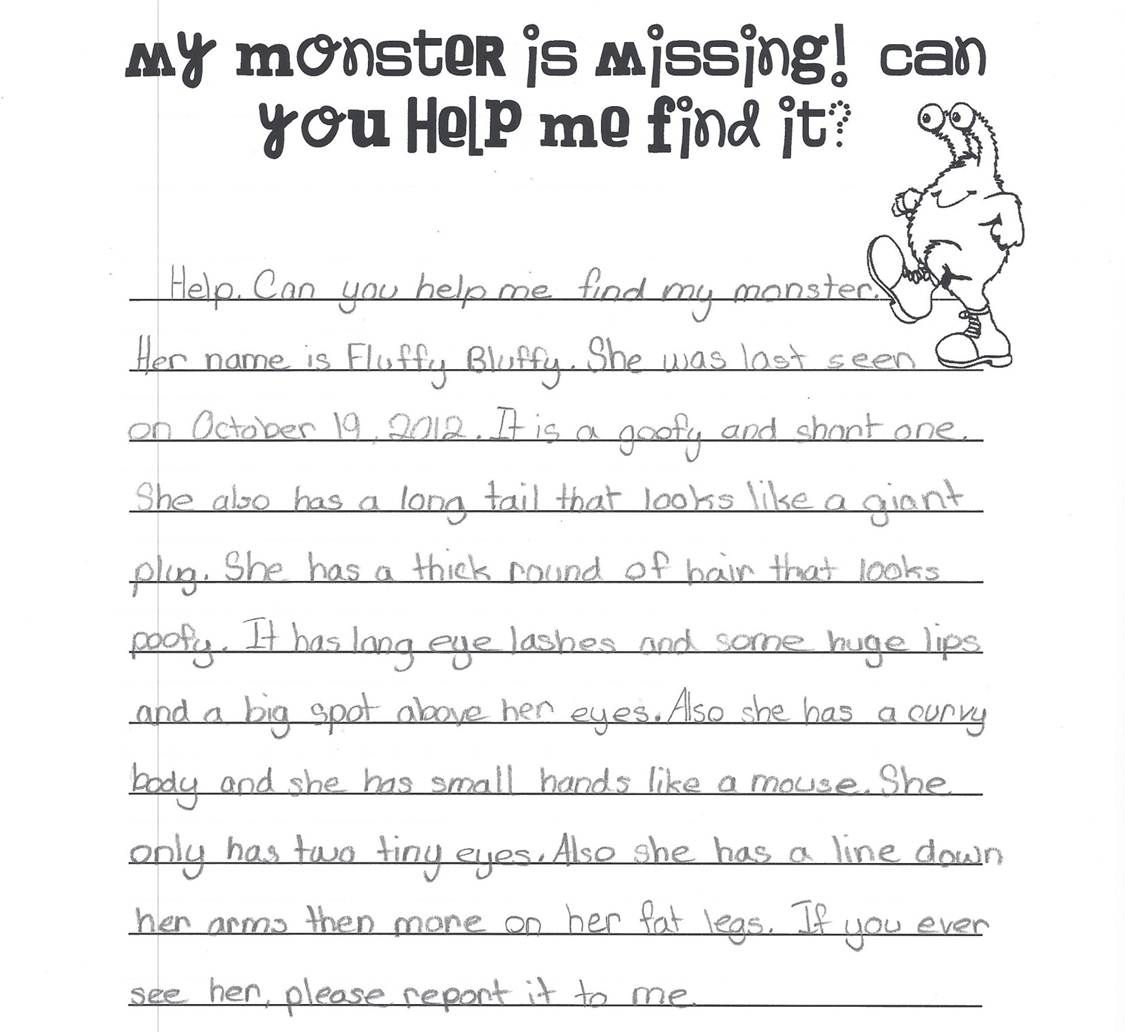 Monster Descriptive Writing Activity Descriptive Writing Activities Descriptive Writing Ela Writing [ 1032 x 1125 Pixel ]