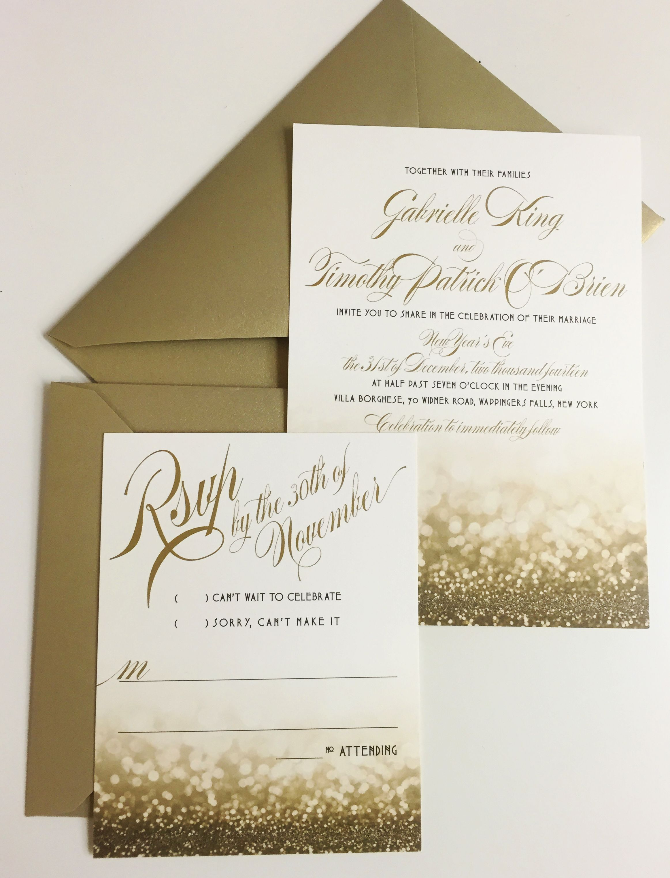 New Year's Eve Wedding Invitation. Gold With Glittery