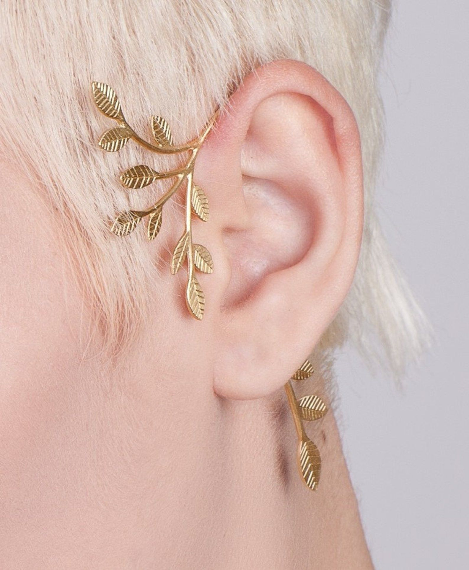 Boho Chic Gold Leaves Ear Cuff – gold ear cuff , tree ear cuff , wedding ear cuff , wedding jewelry , woodland earcuff , Bohemian jewelry