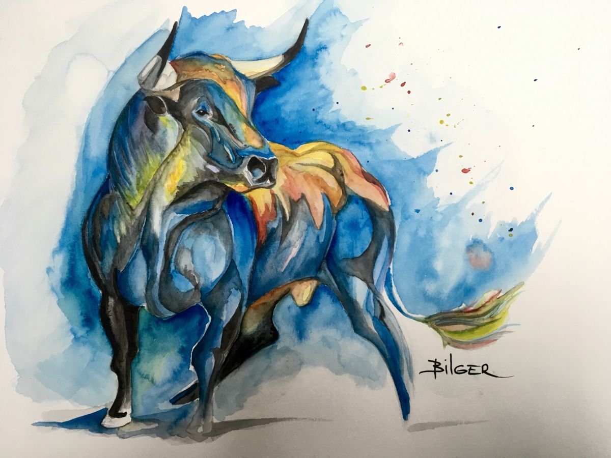 La puissance, la force et la couleur. #aquarelle #animalpaintings #watercolor #animal #watercoloranimals #aquarellepainting #taureau #artpainting #artdrawings #watercolorart