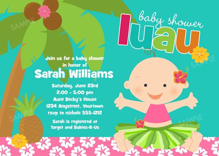 luau themed baby shower invitations - Google Search