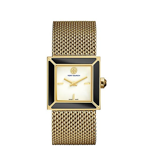 Tory Burch Sawyer Watch, Gold-tone Mesh/onyx, 25 Mm