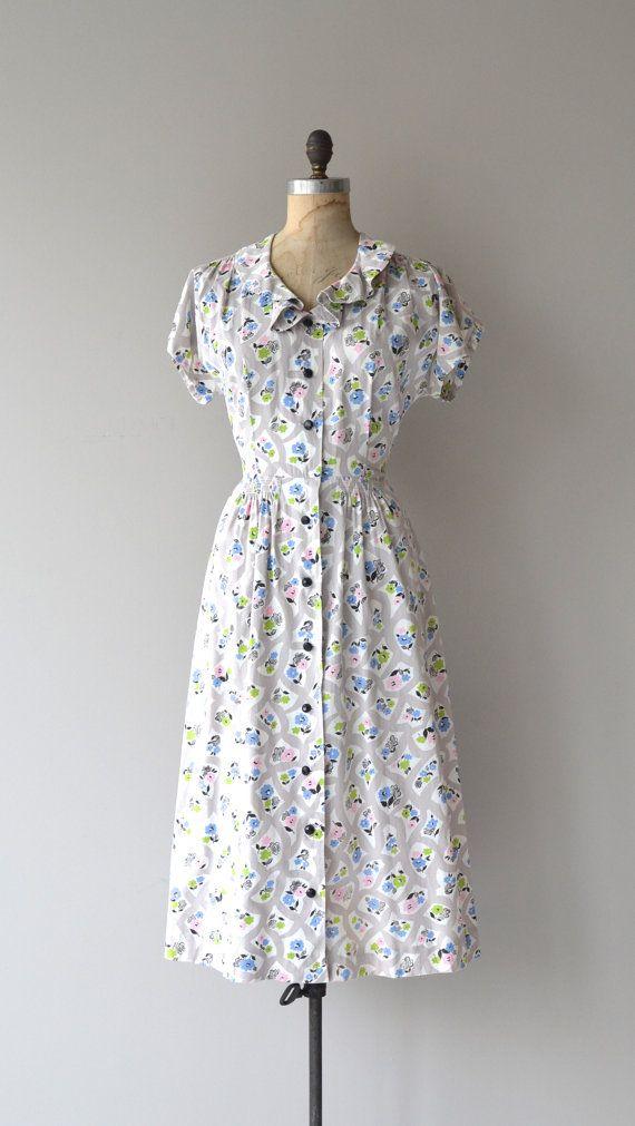 April Showers dress vintage 1940s dress cotton by DearGolden