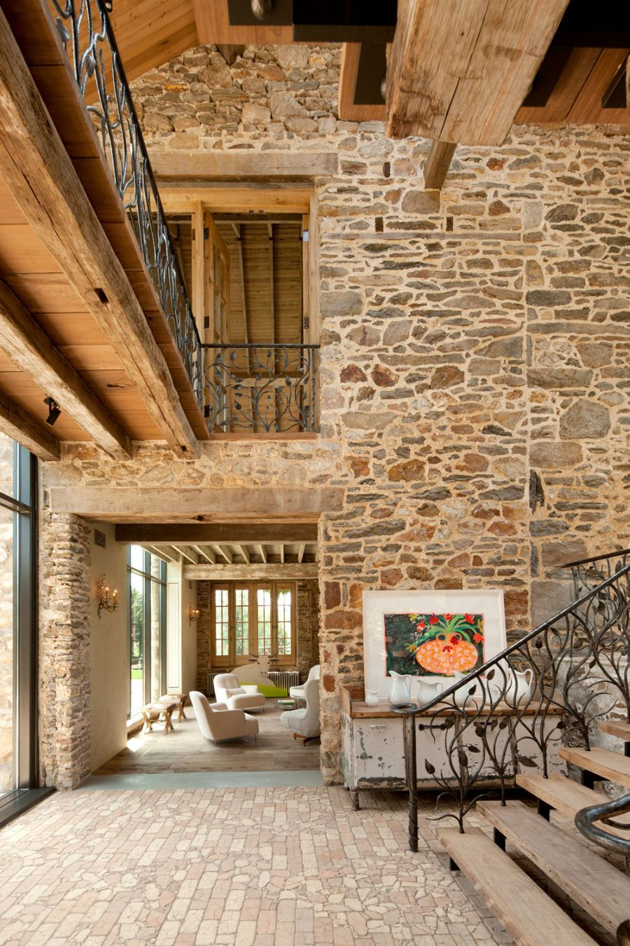 Old Colonial Home Redesign For Unique Bright And Modern House: Modern Redesign Of Old Country Home With Antique Stone Walls And Exposed Ceiling Beams