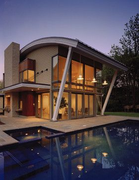 Curved Roof Home Design Ideas Pictures Remodel And Decor Roof Design Architecture Roof Styles