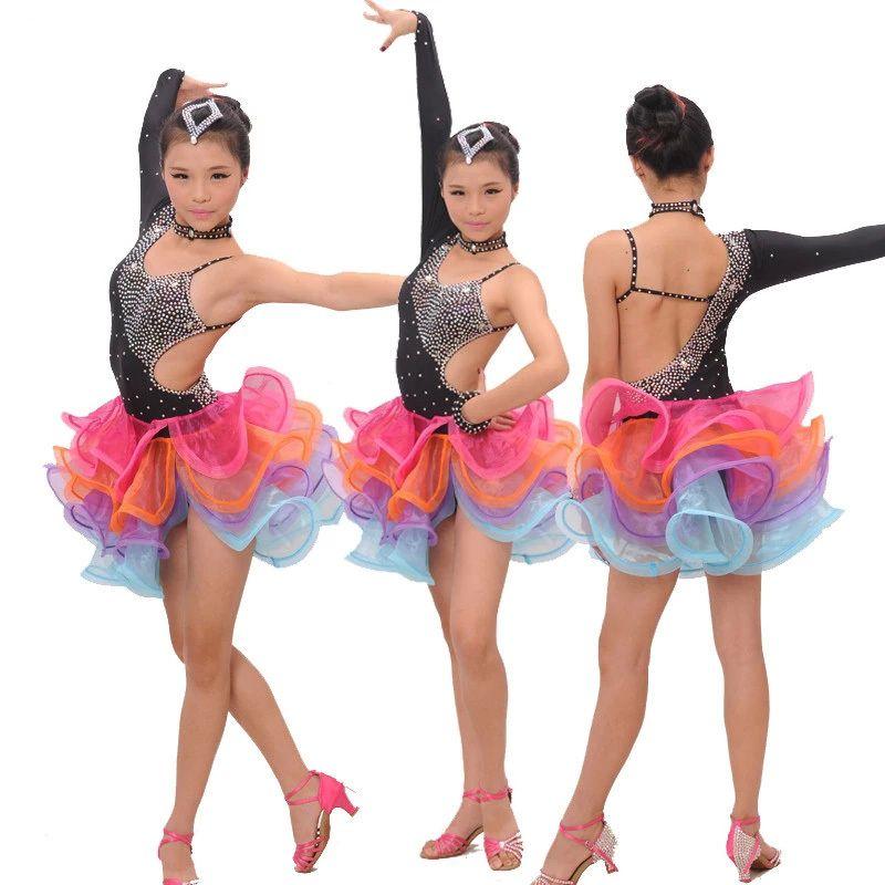 79a23808367d3 Pas cher Fille robe de danse latine rumba samba vêtements filles Salsa robes  filles Stage porter Costumes pour enfants de salon chambre