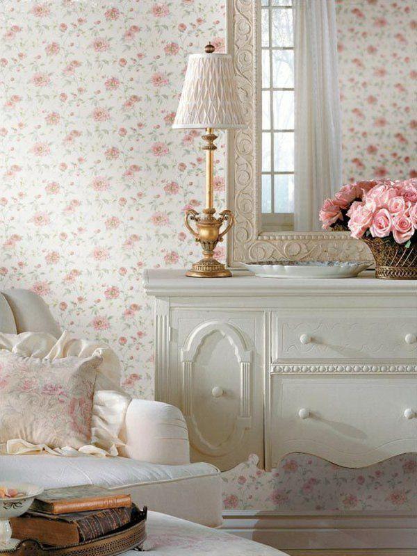 rosentapete wände verkleiden elegante tapete Wandgestaltung - schöne tapeten für wohnzimmer