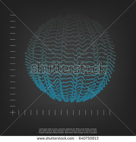 3d sphere. Vector Illustration of Cyber or Scientific theme. Space sound waves.