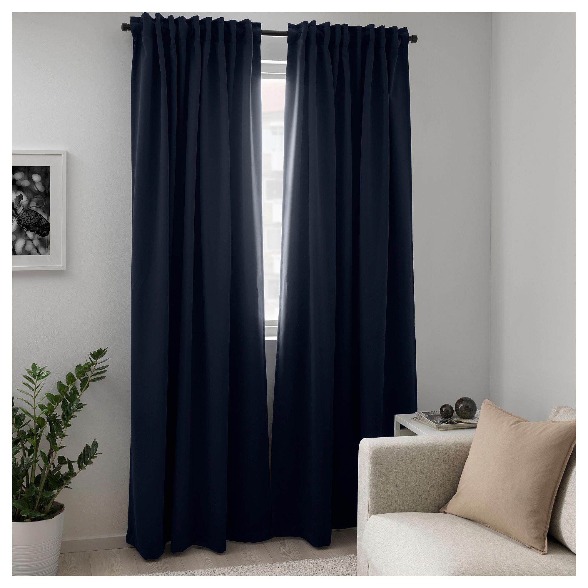 Ikea Majgull Blackout Curtains 1 Pair Dark Blue