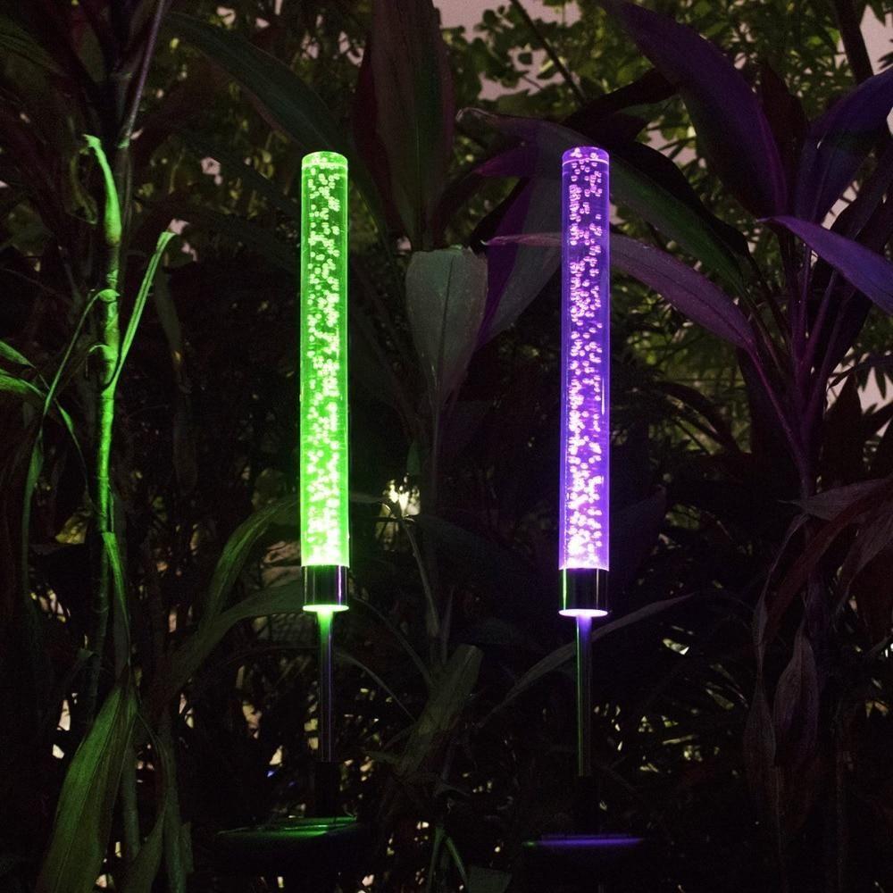 Tube Led Bulle Piquet Solaire De Decoration Pour Jardin Trendszy Lampe Solaire Jardin Eclairage Solaire Exterieur Decoration Jardin