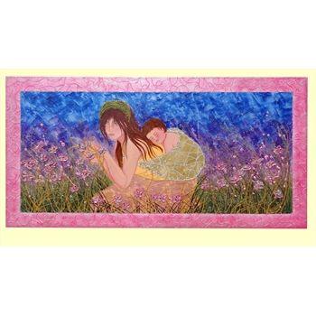 """Quadri Astratti Moderni """"Maternità tra i fiori."""" Tecnica mista su tela con finta cornice. dim. 70x140"""