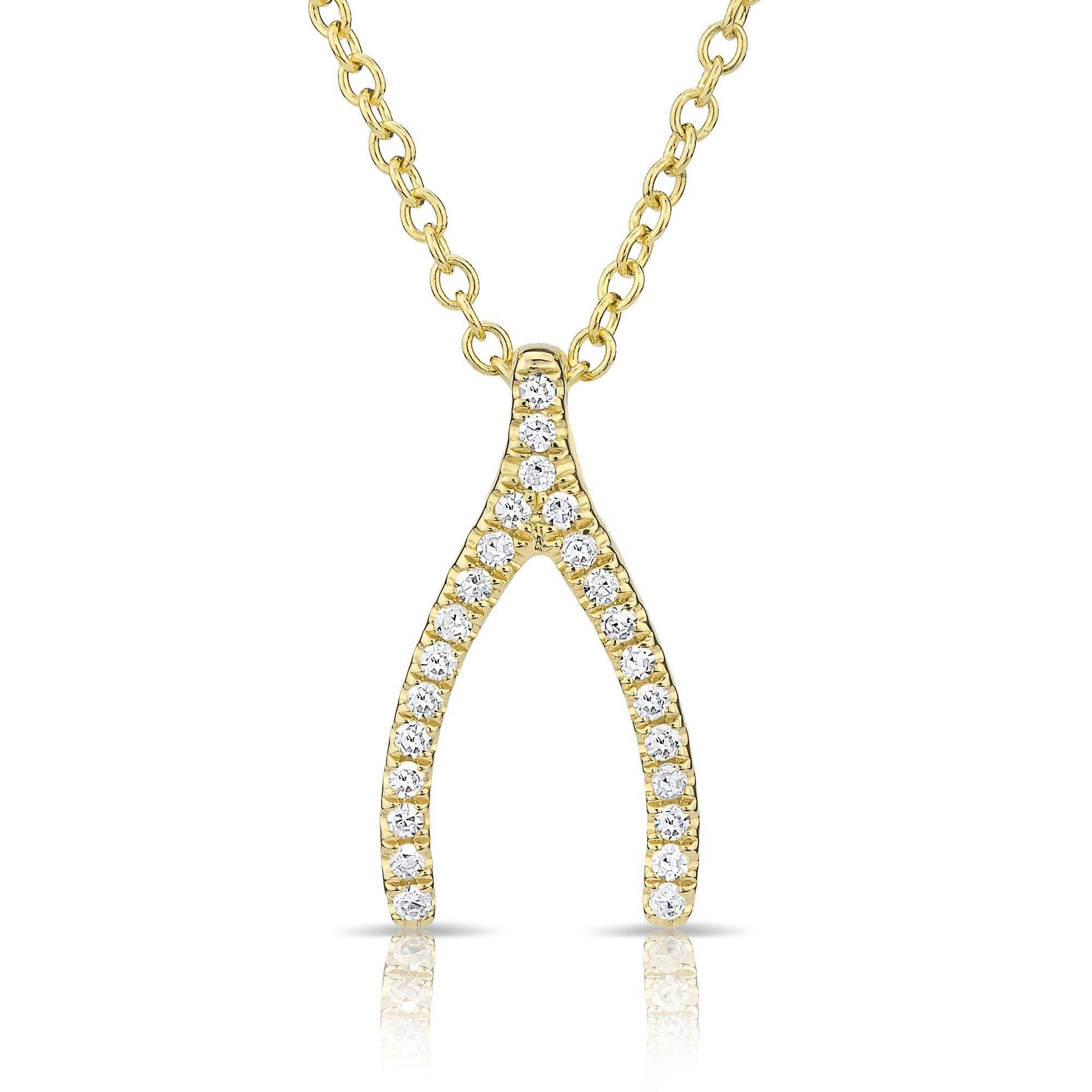 Kt gold u diamond wishbone necklace calista west jewelry