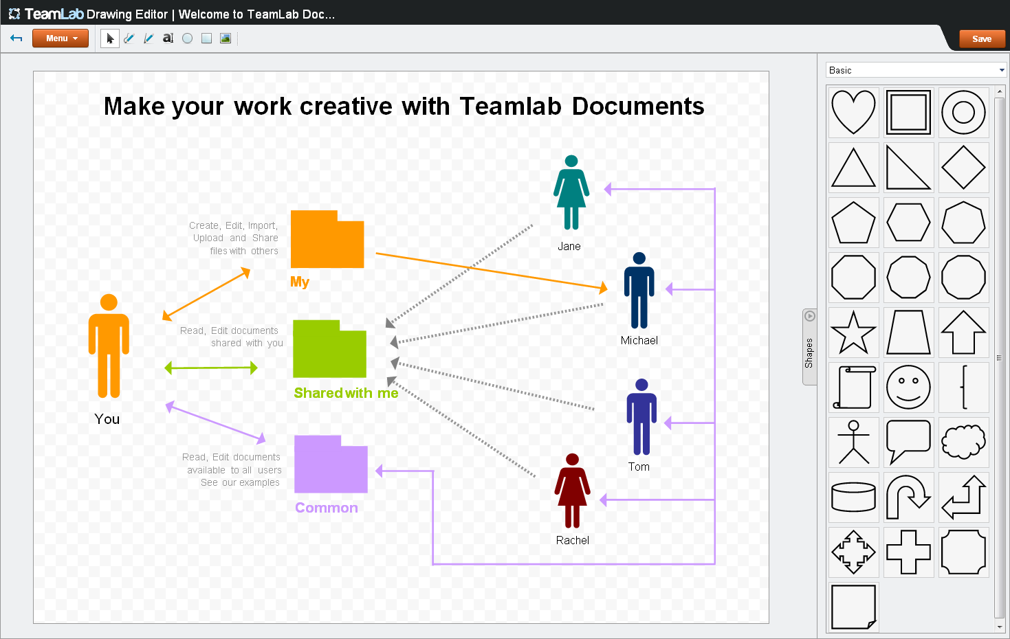 Simple infographics with TeamLab Documents Creative work