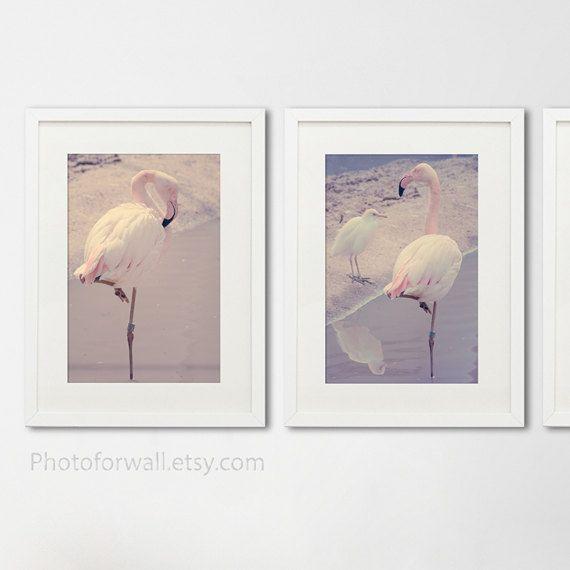 pink flamingo decor bathroom art set of 3 by photoforwall on etsy - Pink Flamingo Bath Decor