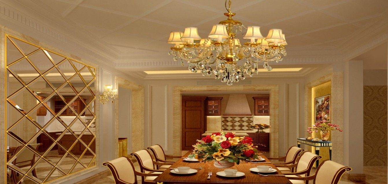 European Style  Modern Dining Room With A Sophisticated Lighting Mesmerizing Luxurious Dining Room Decorating Design