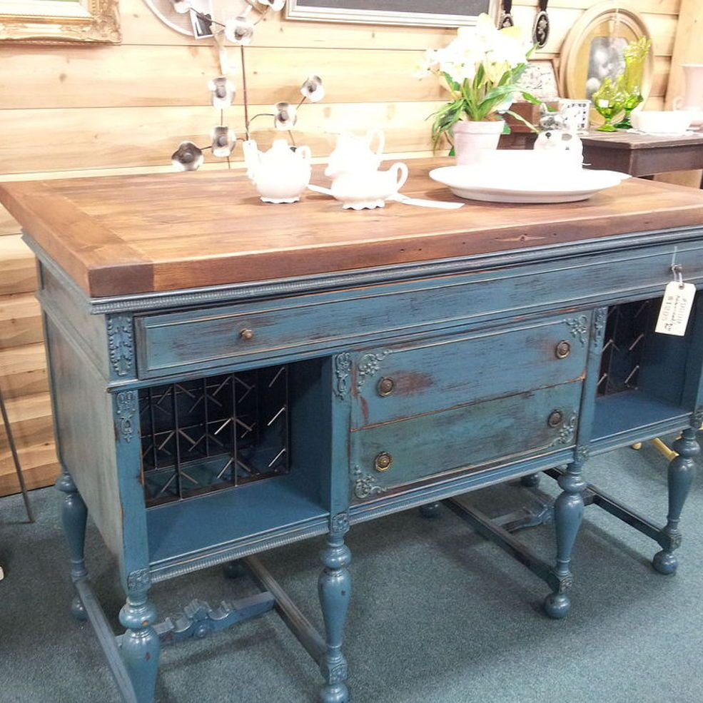 Kitchen Island Made From Antique Buffet: Vintage Buffet To Kitchen Island/Wine Bar