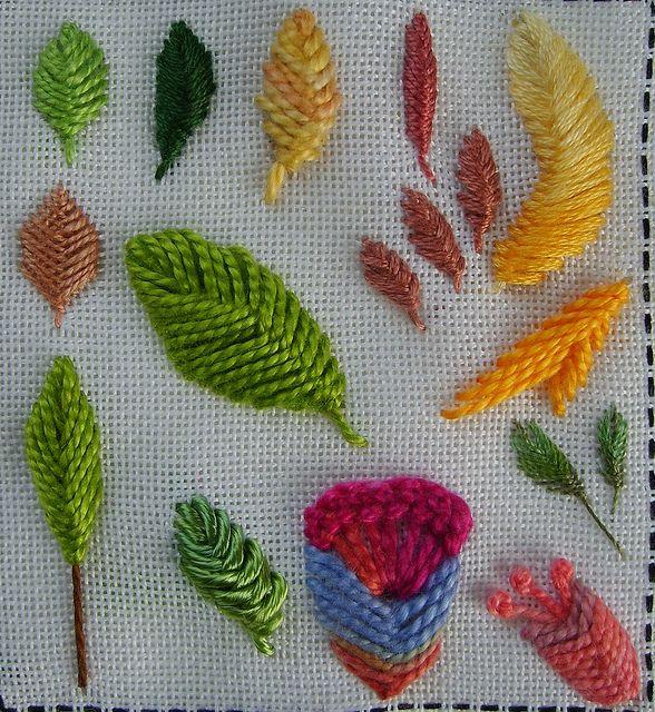 Raised close herringbone stitch | leaves | Herringbone stitch