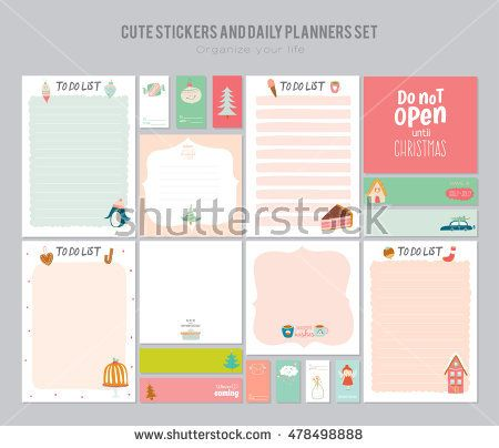cute daily note template notebook paper and stickers set with