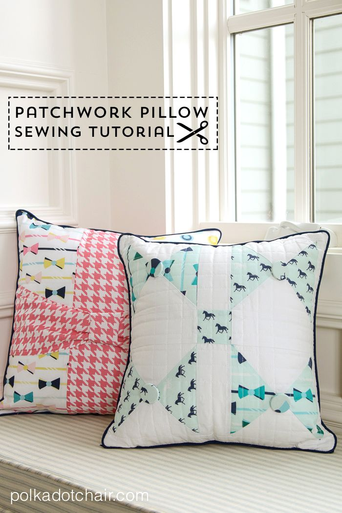 Bow Tie Patchwork Pillow with Derby Style Fabric | sew. | Pinterest ...