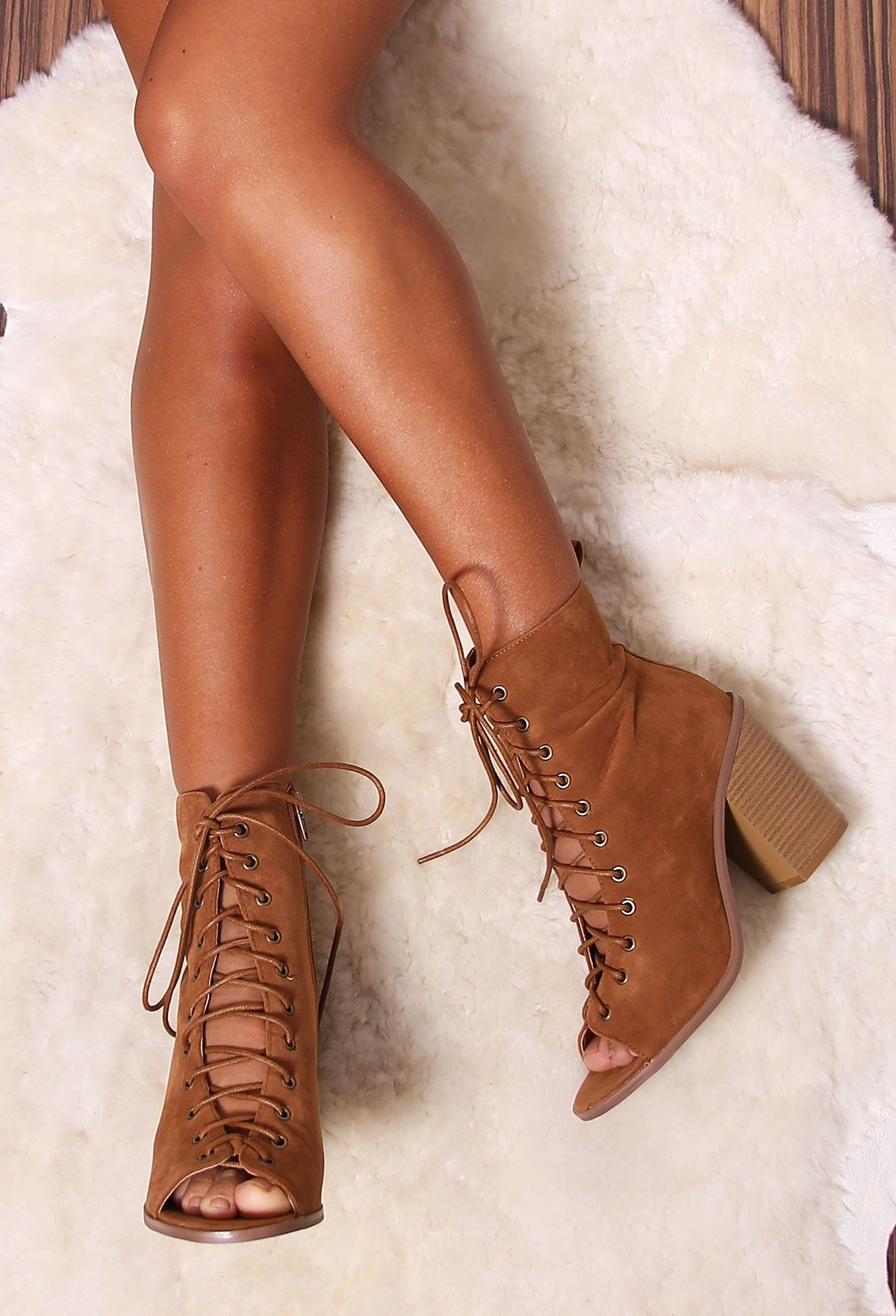 Donni Tan Lace Up Peep Toe Boots | Lace, Peeps and Tans