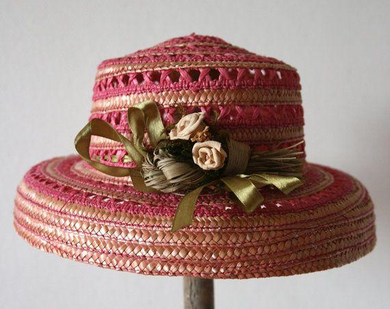 États Unis en ligne ici emballage fort Vintage 1950 Chapeau en paille rose pour femme par ...