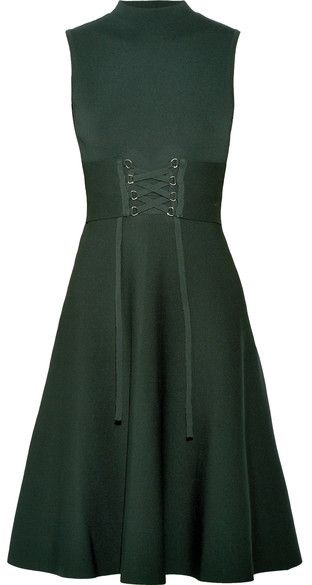 cf202af7e8d Maje - Lace-up Stretch-knit Dress - Dark green and decorated with a nice  laceup. commissionlink
