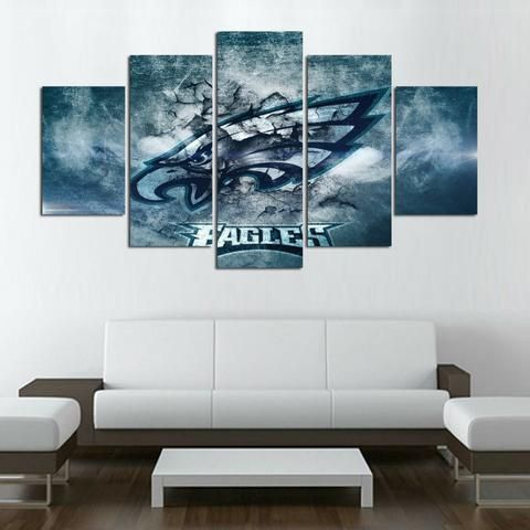 Philadelphia Eagles Nfl Football 5 Panel Canvas Wall Art Home Decor Abstract Decor Canvas Print Wall Mural Wall Art