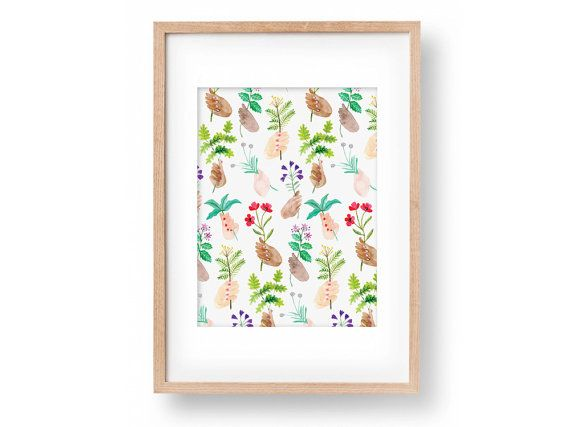 Handpicked Herbs A4 Wall Art Print - Watercolour Illustration ...