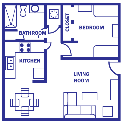 floor plan under 500 sq ft Standard Floor Plan One Bedroom