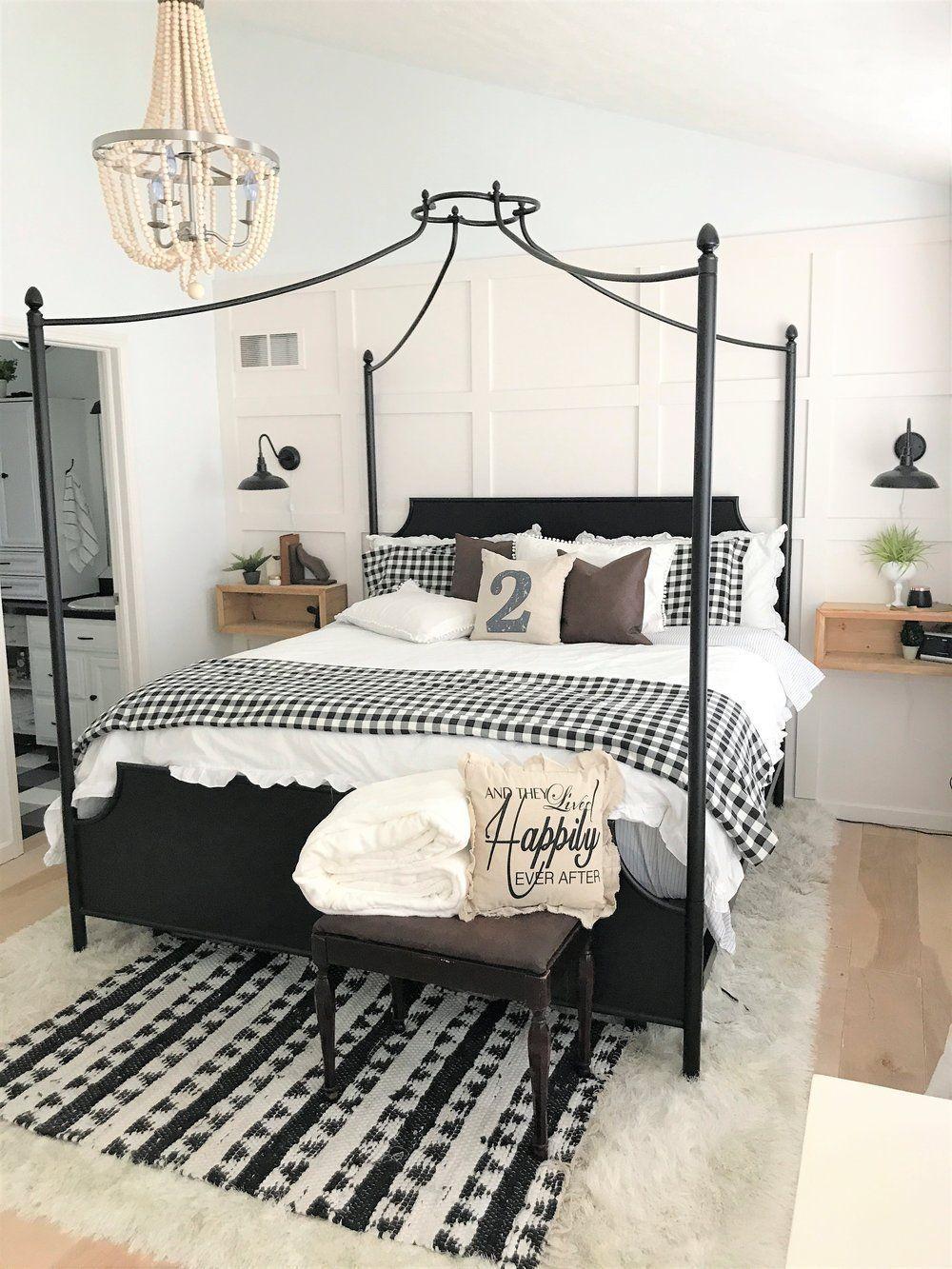 modern farmhouse bedroom makeover, master bedroom, buffalo