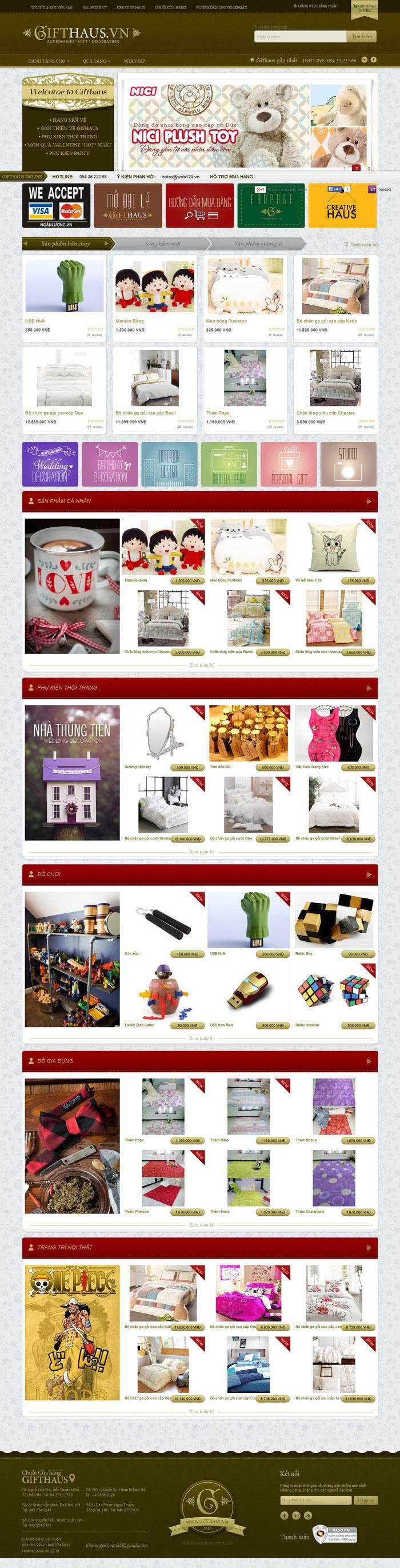 Thiết kế website bán đồ lưu niệm, giao diện thật đáng yêu
