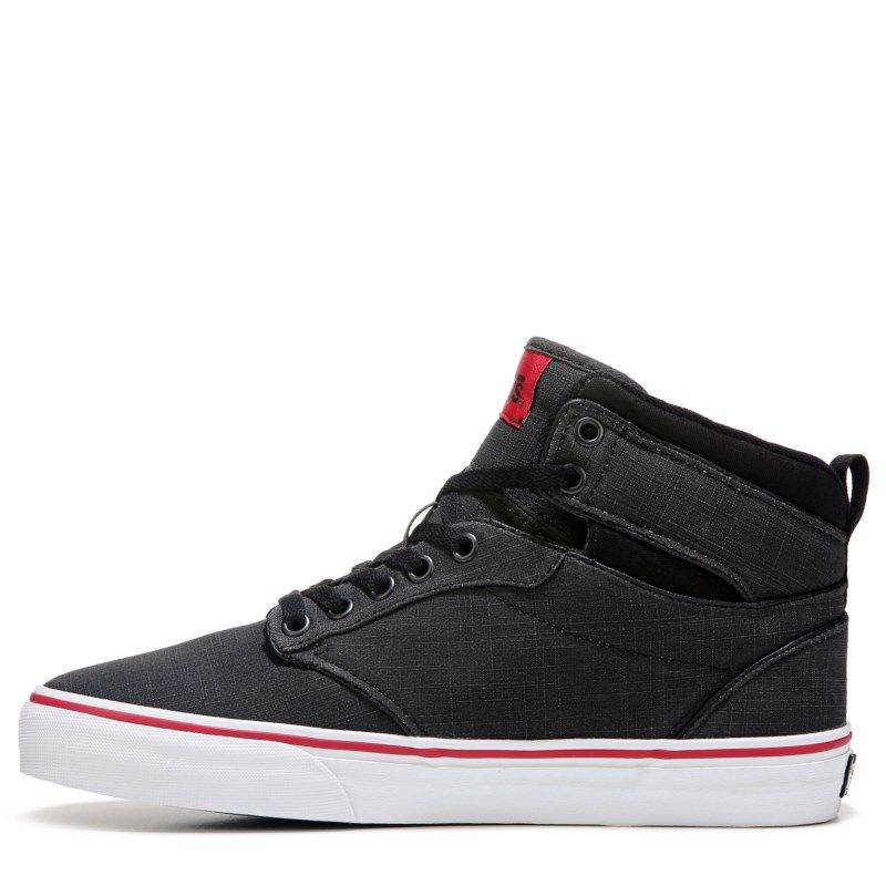5d461e47a1 Vans Men s Atwood High Top Skate Shoes (Black Red)