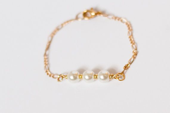 Baby Girl Pearl Gold Chain Bracelet Jewelry Pinterest Gold