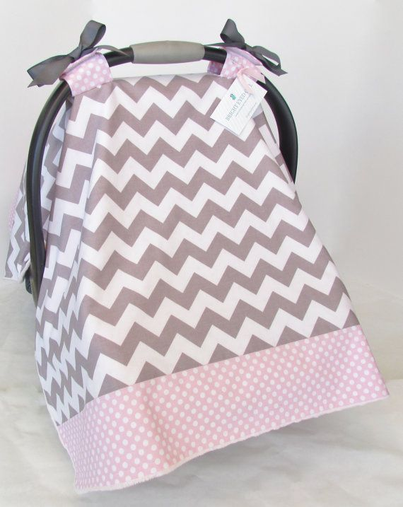 baby infant car seat cover and hood cover baby pink chevron w// gray polka dots