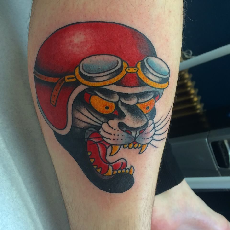 Traditional panther head tattoo by chris garver for Traditional panther tattoo